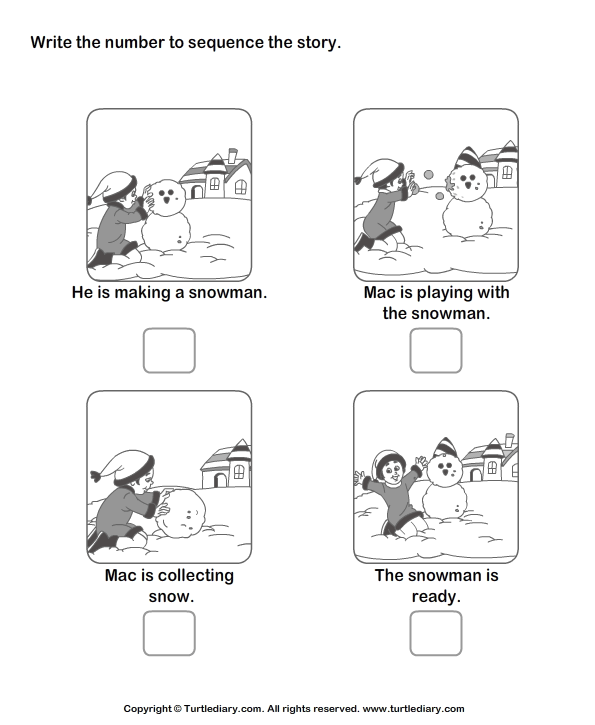Story Sequencing Mac and Snowman Worksheet Turtle Diary – Picture Story Sequencing Worksheets Kindergarten