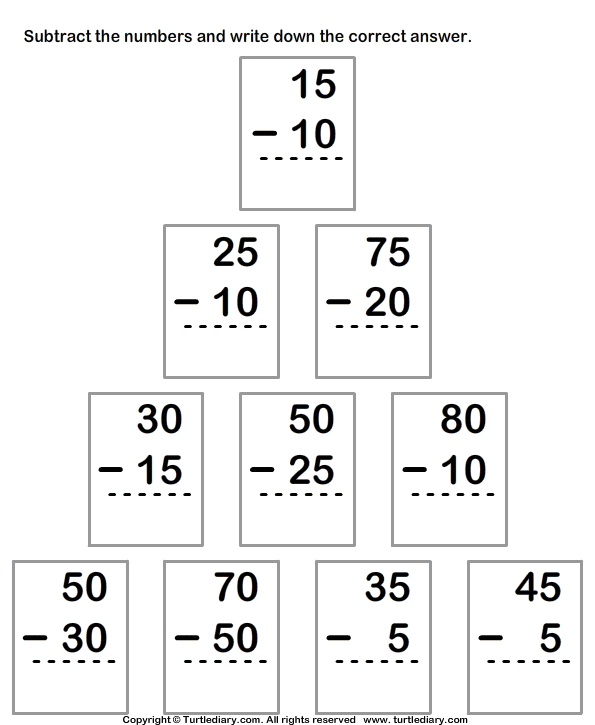 Subtract Numbers up to Two Digits From Two Digit Numbers Worksheet – Multi Digit Subtraction Worksheets