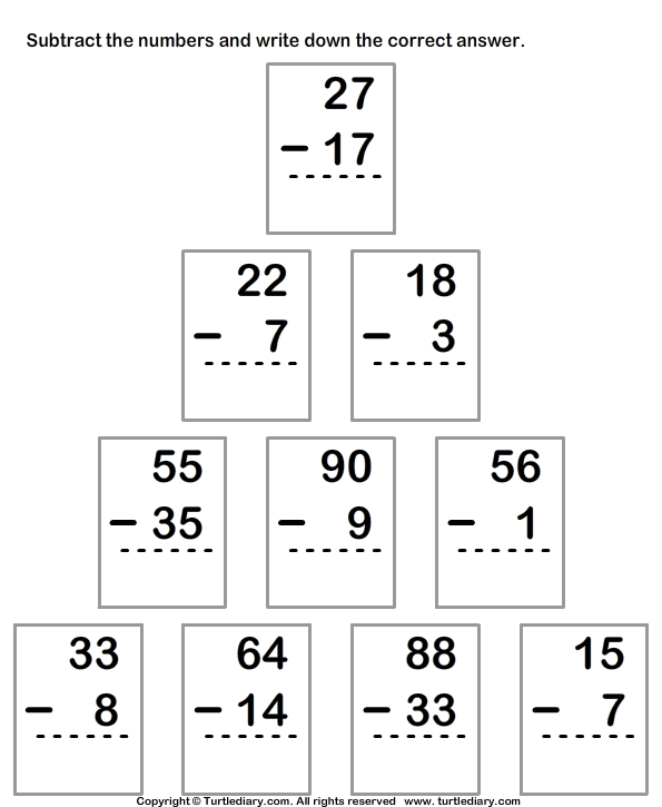 Subtracting From Two Digit Number With Regrouping Worksheet Turtle