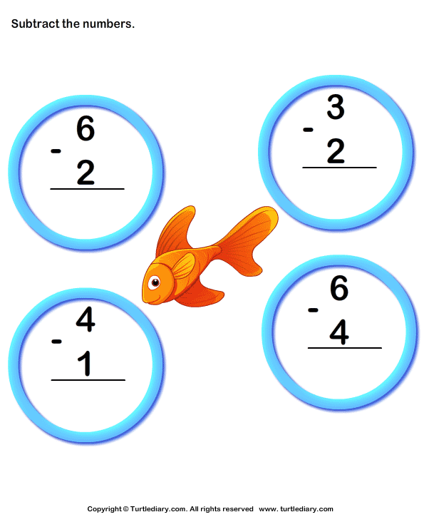 Subtraction of Numbers up to Ten Worksheet - Turtle Diary