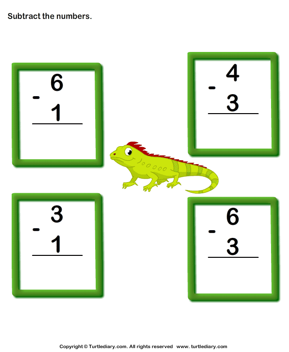 subtraction of one digit numbers up to ten worksheet turtle diary. Black Bedroom Furniture Sets. Home Design Ideas