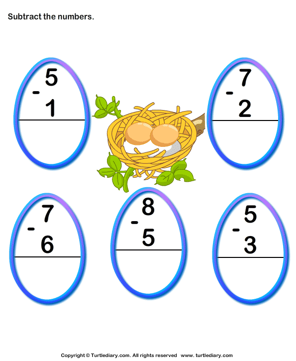Subtraction with Numbers up to Ten Worksheet - Turtle Diary