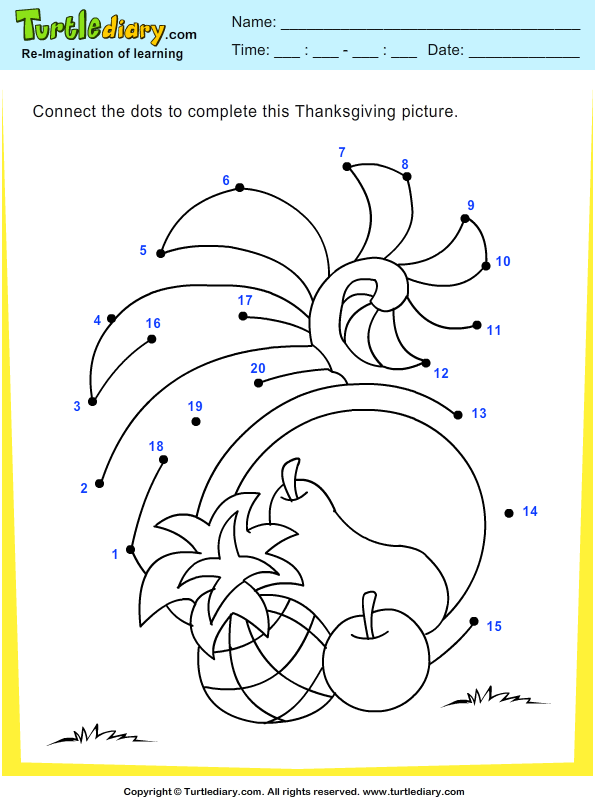 Thanksgiving Connect the Dots by Numbers Cornucopia ...