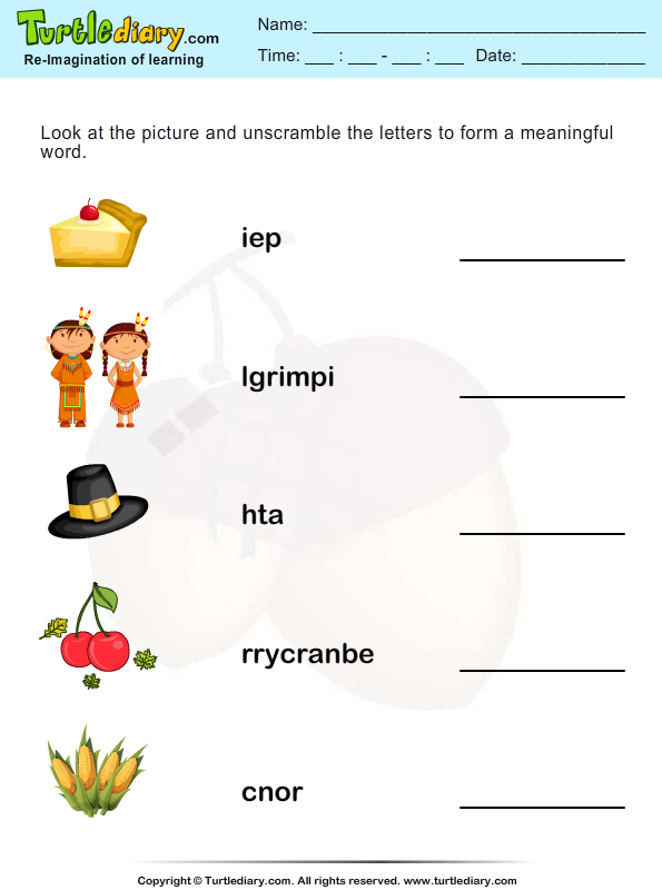Thanksgiving Scramble Corn Worksheet Turtle Diary