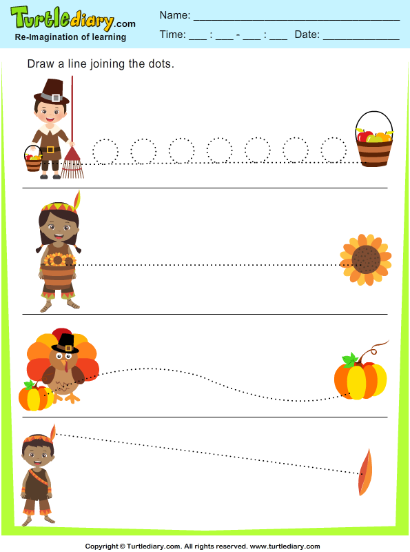 Thanksgiving Tracing Worksheet - Turtle Diary