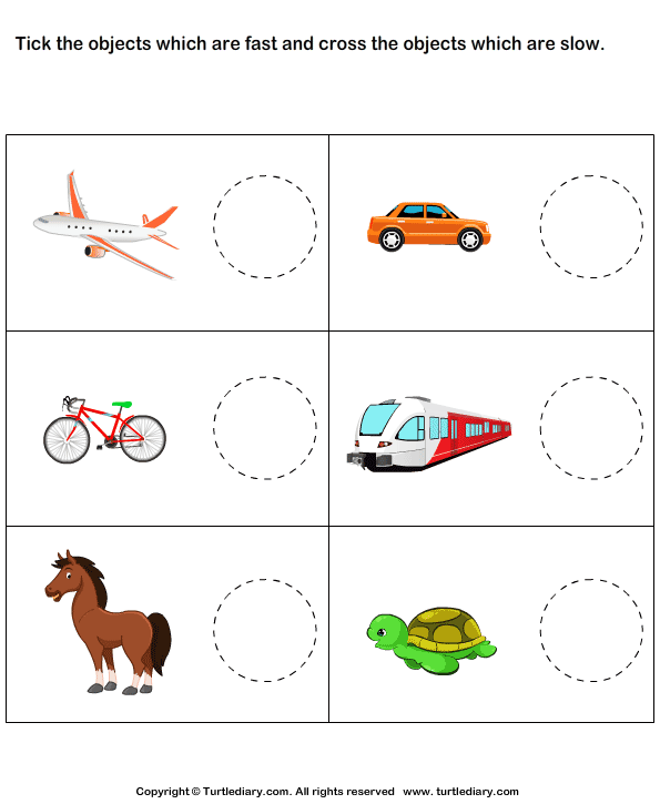 Tick Fast Objects Cross Slow Objects Worksheet Turtle Diary – Kindergarten Adjective Worksheets