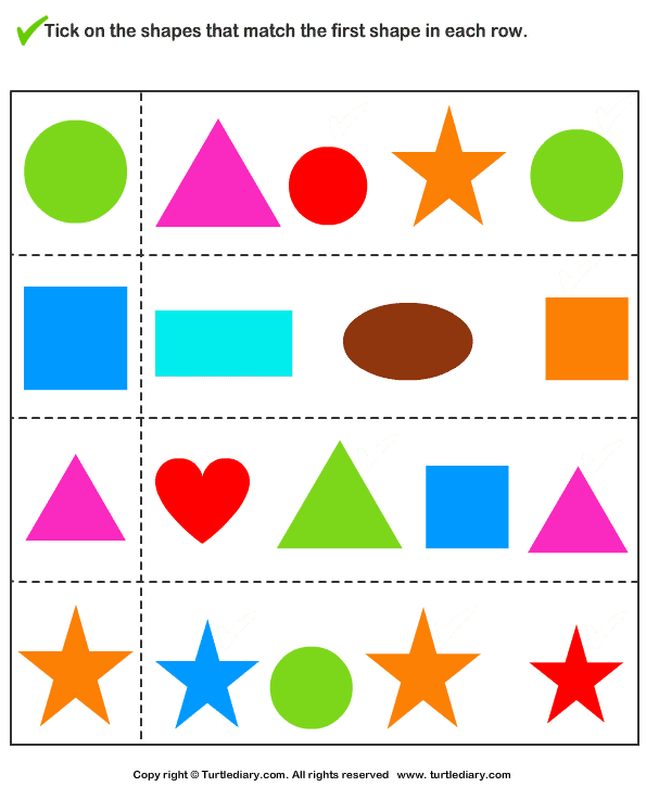 Tick Shapes that Matches Given Shape Worksheet Turtle Diary – Matching Shapes Worksheet