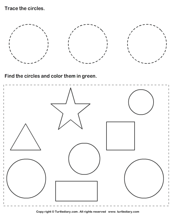 trace circles and color them worksheet turtle diary. Black Bedroom Furniture Sets. Home Design Ideas