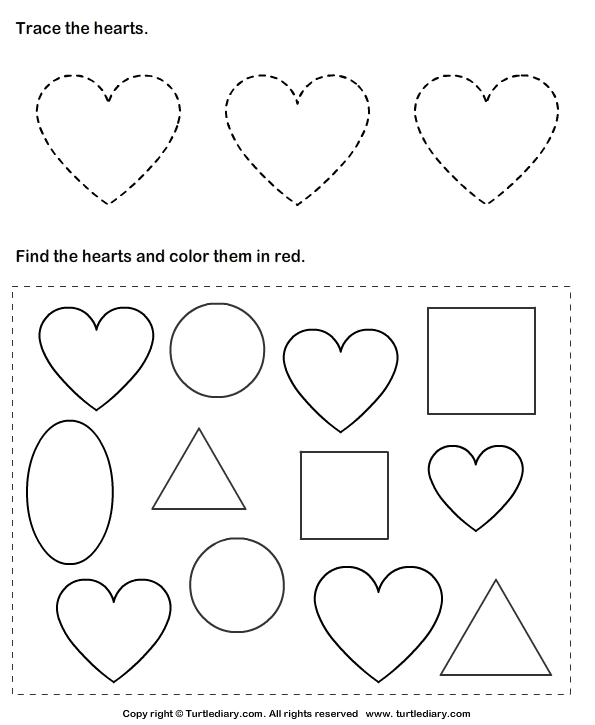 Trace Hearts and Color Them Worksheet Turtle Diary – Worksheet on Shapes for Kindergarten