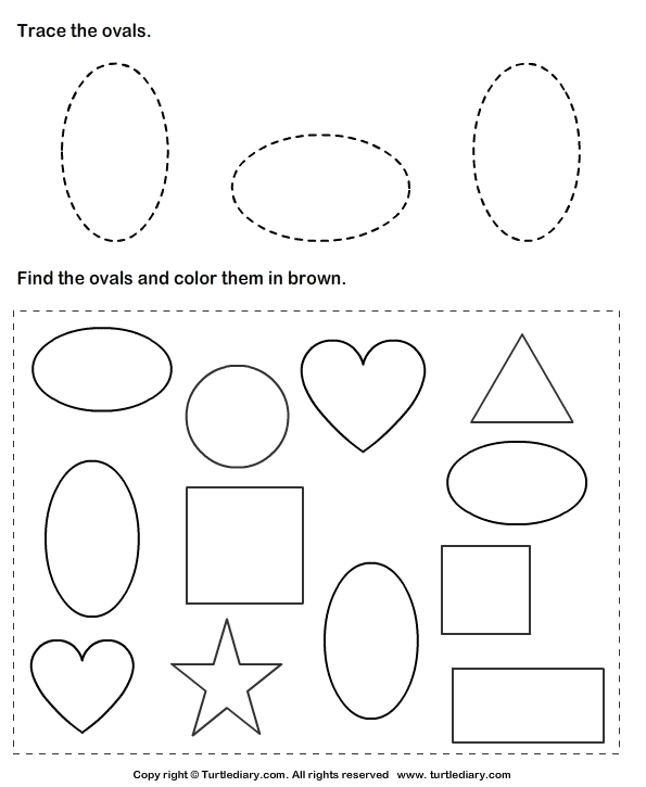 trace ovals and color them worksheet turtle diary. Black Bedroom Furniture Sets. Home Design Ideas