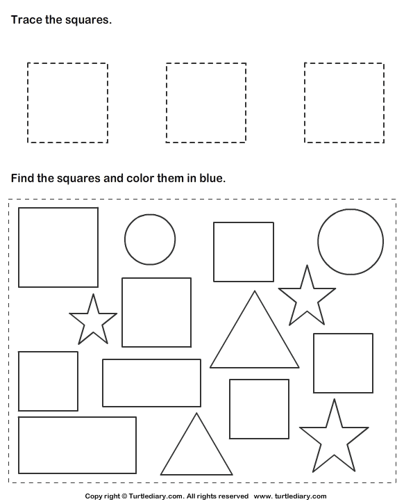 trace squares and color them worksheet turtle diary. Black Bedroom Furniture Sets. Home Design Ideas