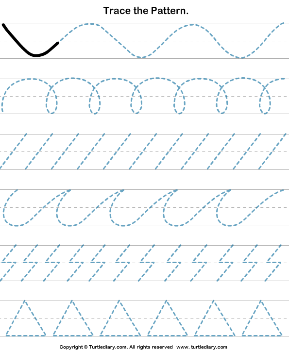Drawing Lines Year : Trace the given patterns worksheet turtle diary