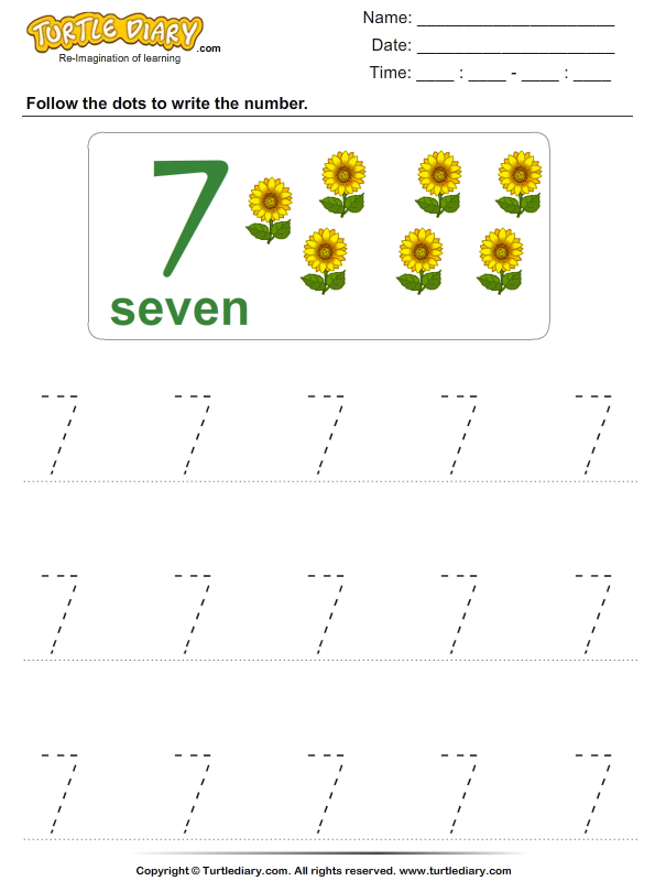 Number Writing Worksheet Turtle Diary