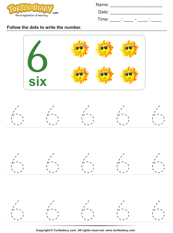 Trace the Number Six Worksheet - Turtle Diary