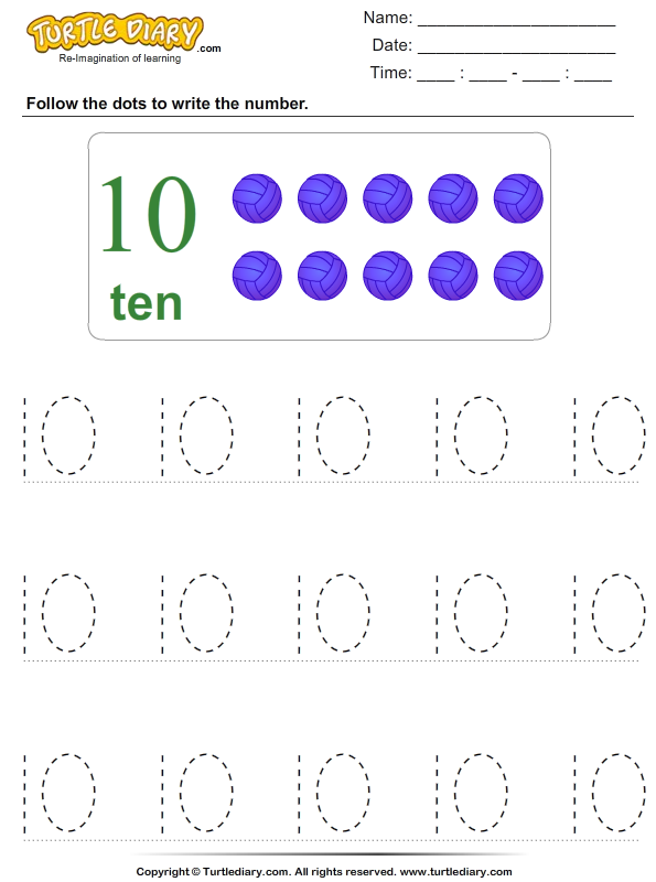 Trace the Number Ten Worksheet Turtle Diary