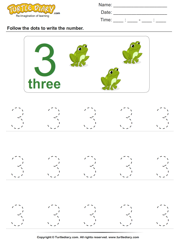 Trace The Number Three Worksheet