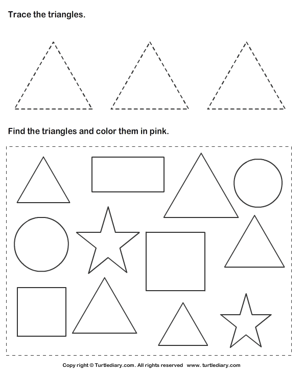 trace triangles and color them worksheet turtle diary. Black Bedroom Furniture Sets. Home Design Ideas