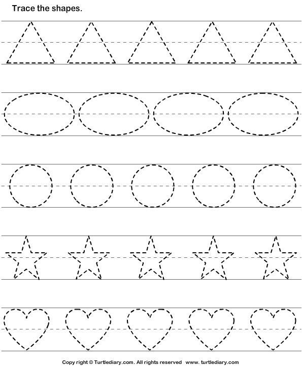 Tracing basic shapes worksheet turtle diary for Free printable name tracing templates