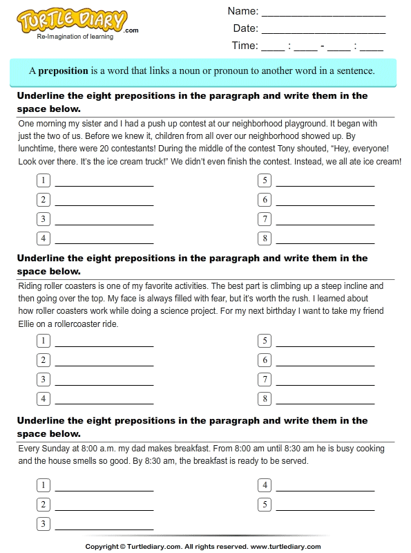 Underline and Write Preposition used in each Paragraph Worksheet – Prepositions of Time Worksheet