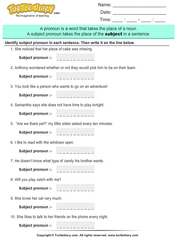 Identify Subject Pronouns
