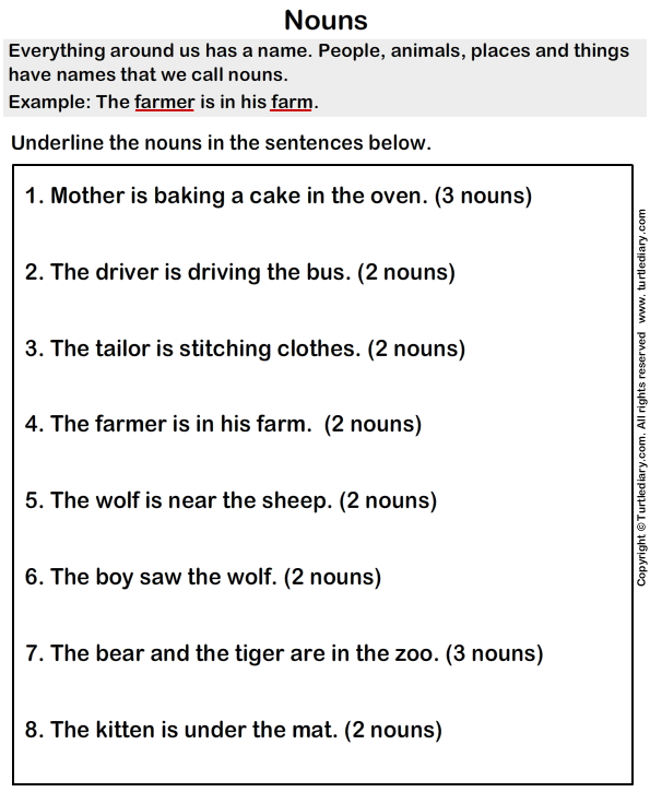 Underline the Nouns Worksheet - Turtle Diary