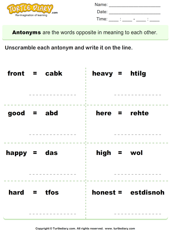 Unscramble Antonyms