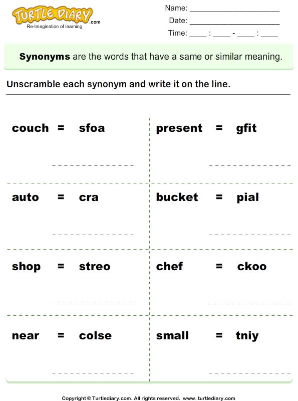 Unscramble Synonyms