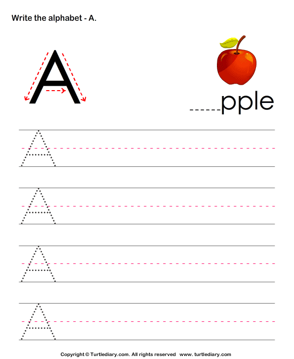 Uppercase Alphabet Writing Practice A Worksheet