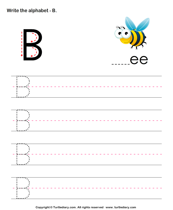 Uppercase Alphabet Writing Practice B Worksheet - Turtle Diary