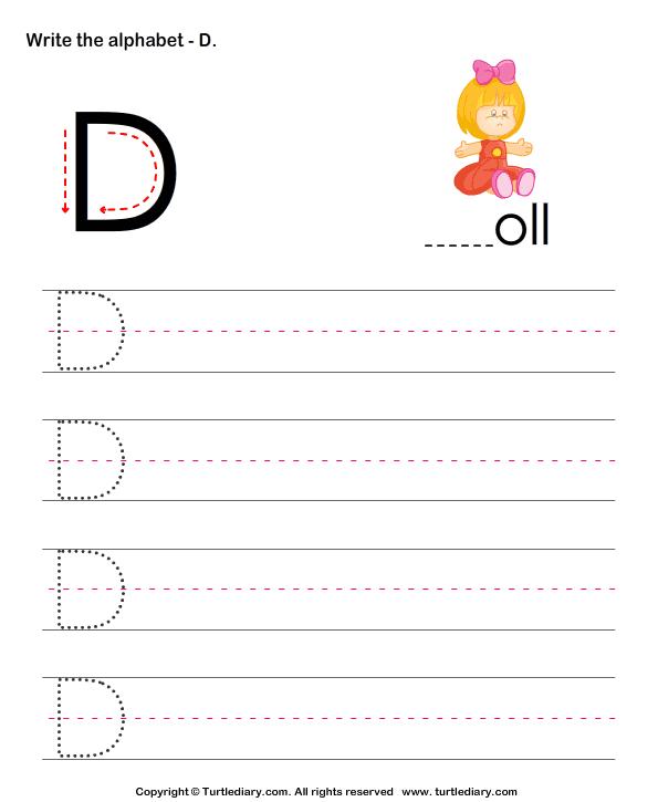 Uppercase Alphabet Writing Practice D Worksheet - Turtle Diary