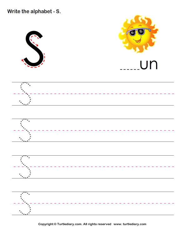 Uppercase Alphabet Writing Practice S Worksheet