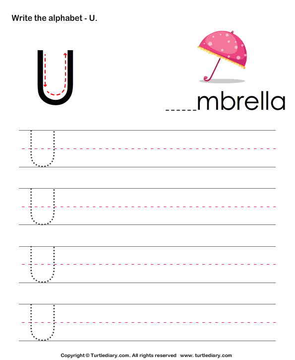 uppercase alphabet writing practice u worksheet