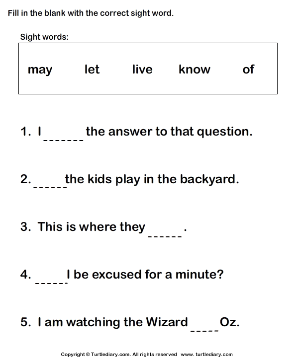 Fill in the Blanks Using Sight Words Worksheet - Turtle Diary