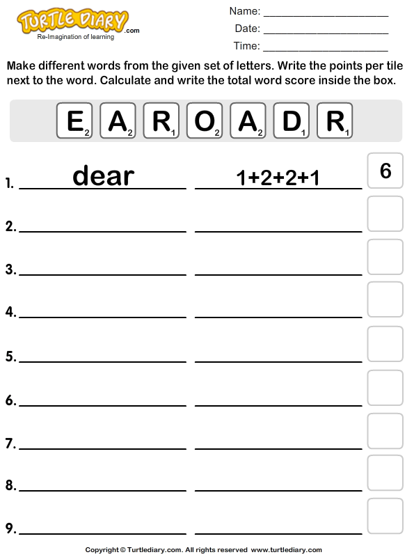 Use Letters to Form Different Words