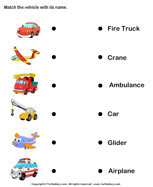 Vehicle Names Worksheet - Turtle Diary