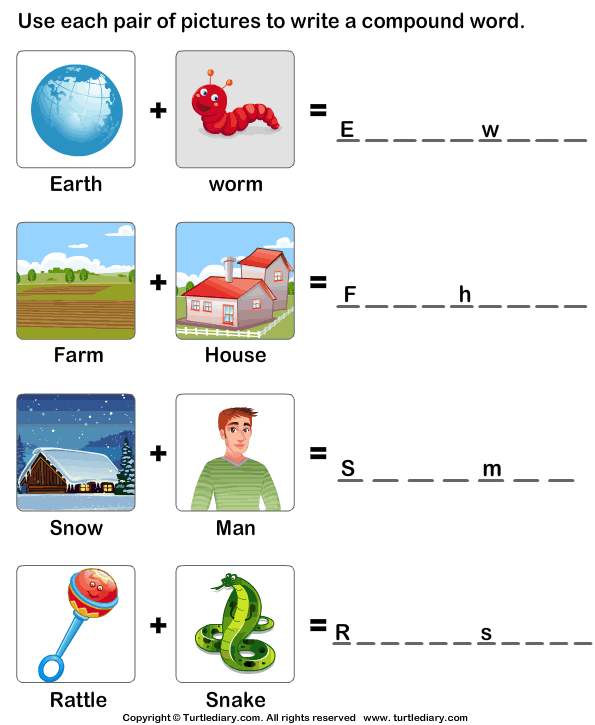 Write a Compound Word Using Two Words Worksheet - Turtle Diary
