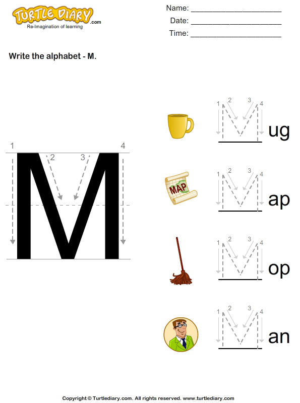 Alphabet - Write in Upper Case (a -z)