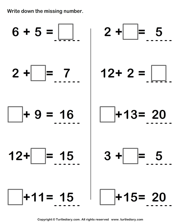Write Missing Numbers in Addition Sentence Worksheet Turtle Diary – Grade One Addition Worksheets