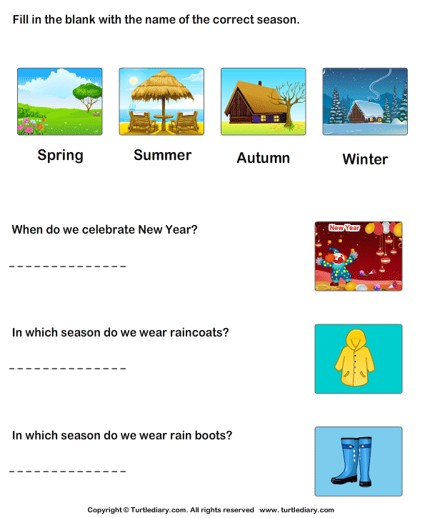 Write Name of Correct Season Worksheet - Turtle Diary