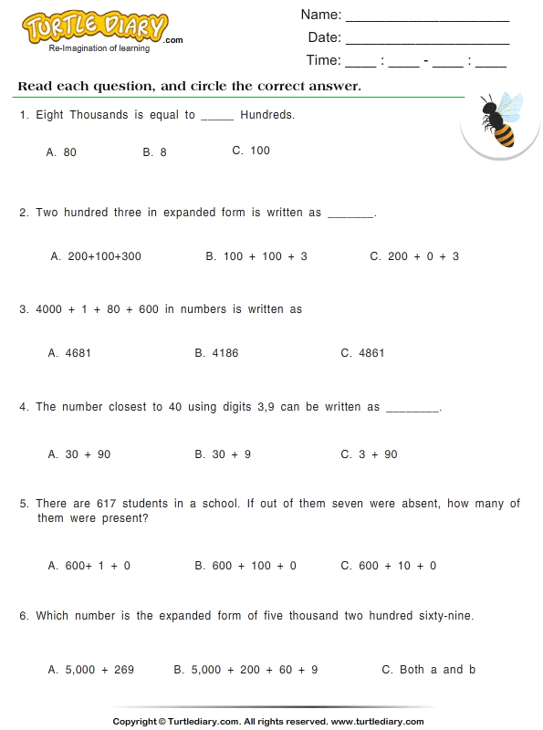 Write Numbers in Expanded Form Worksheet Turtle Diary – Standard Form Math Worksheets