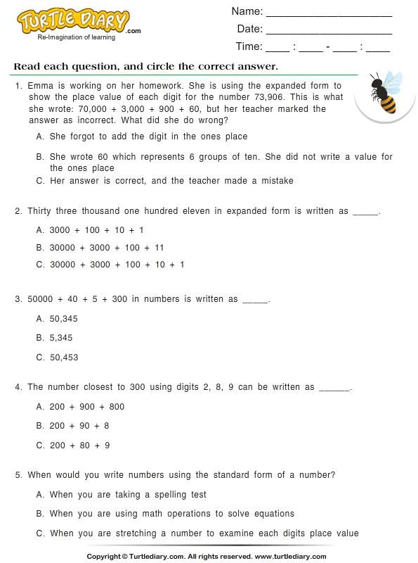 Write Numbers in Standard Form Worksheet - Turtle Diary