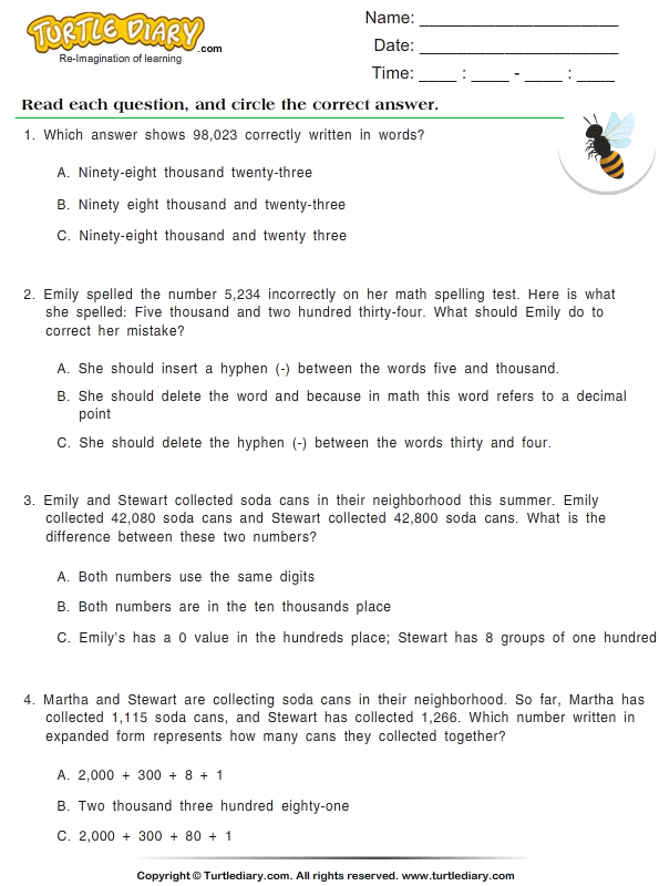 Write Numbers In Words Worksheet Turtle Diary