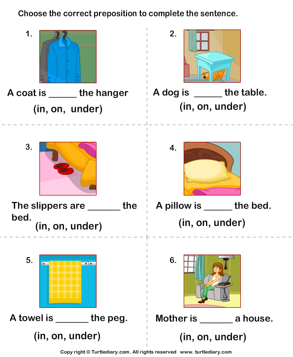 math worksheet : prepositions in on under worksheets for kindergarten  : Preposition Worksheets For Kindergarten