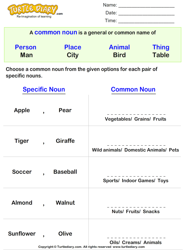 Write the Common Noun for Given Proper Noun Worksheet Turtle Diary – Common Nouns and Proper Nouns Worksheet