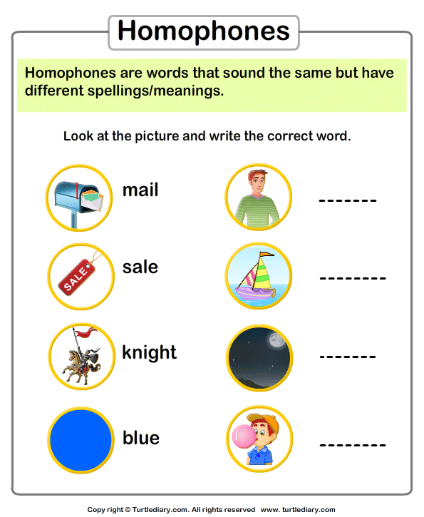 Write the Homophone of Words