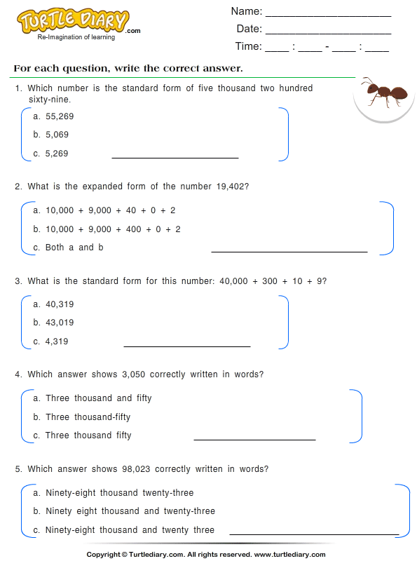 Write The Numbers In Words Form Worksheet Turtle Diary