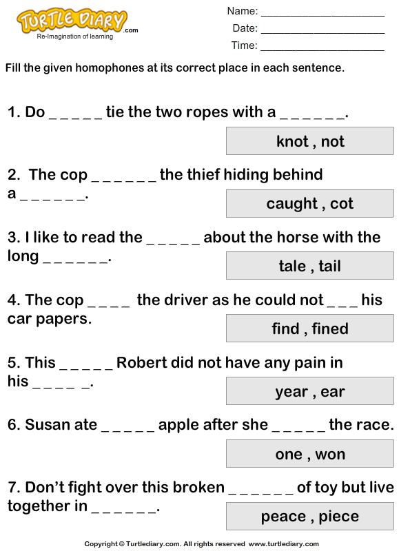 Writing Correct Homophones Worksheet - Turtle Diary