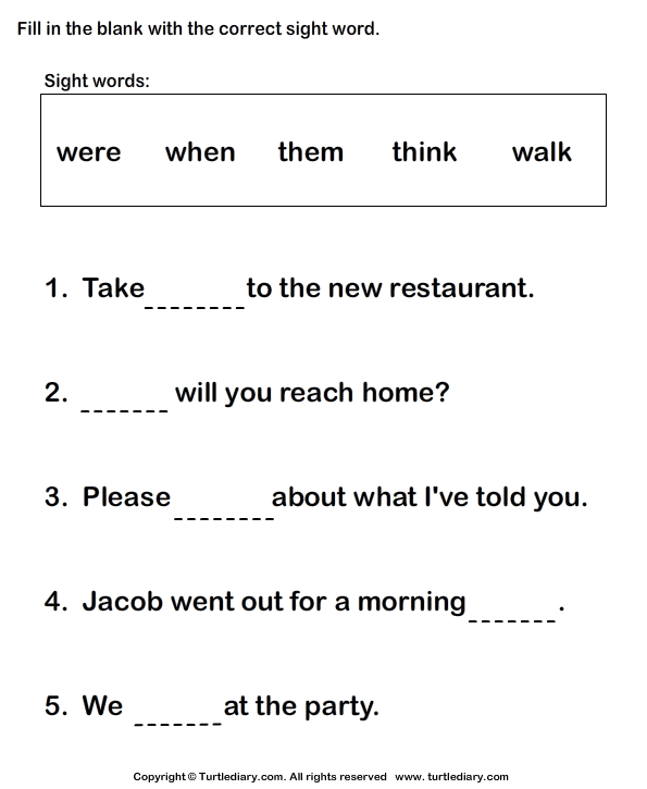 Writing Sight Words in Sentences Worksheet - Turtle Diary