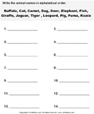 Write the animal names in alphabetical order 2