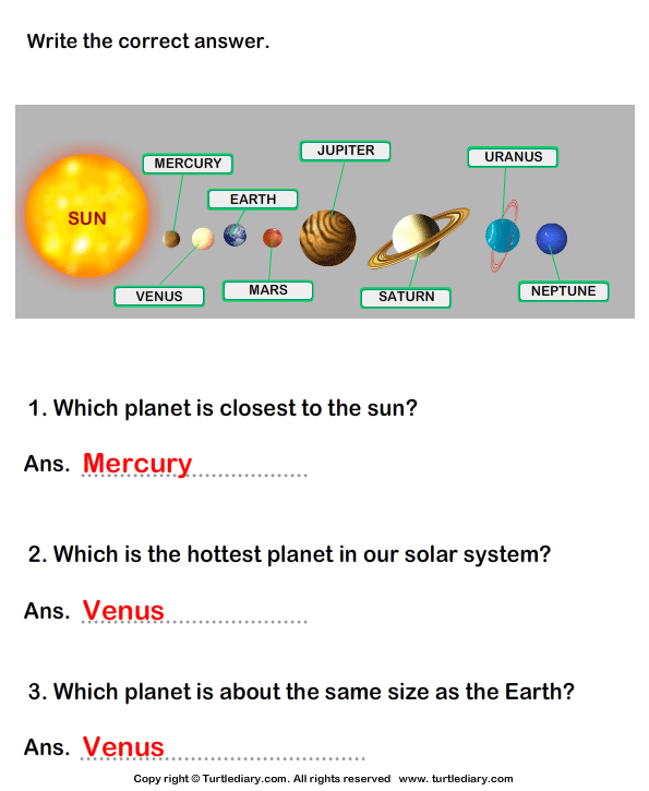 Solar System: Answer the questions Answer